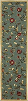 Ottohome Collection Floral Garden Design Non-Skid (Non-Slip) Rubber Backing Modern Area Rug