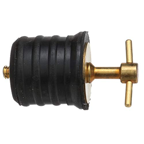 SEACHOICE 18861 Twist-Turn 1.25-Inch Marine Boat Brass Drain Plug with Neoprene Seal