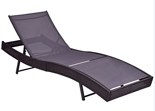 K&A Company Patio Pool Sun Bed Wicker Lounge Chair with Adjustable Back New 350 lbs Capacity (Sun Back Chairs)