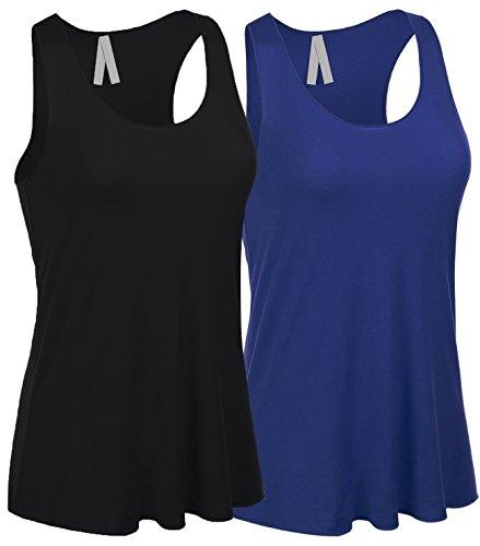 8f5b84e039b Emmalise Women s Flowey Lightweight Yoga Workout Tank Top Tee Tshirt - 2  Pack - Buy Online in Oman.