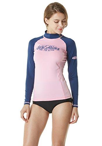 TSLA Womens UPF 50+ Slim-Fit Long Sleeve Athletic Rashguard, Surf Riders(fsr20) - Pink & Navy, Small