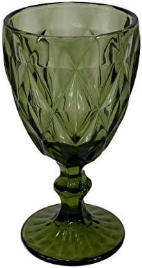 Homevibes Set De 6 Copas De Vino Azul con Relieve, Capacidad 330ml, Medidads 9 * 17cm, Copa De Vino, Cristaleria De Calidad (Verde)