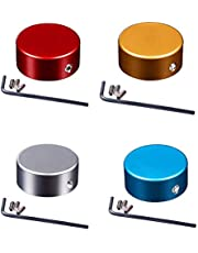 4 Pieces Guitar Effects Pedal Footswitch Aluminum Alloy Topper Guitar Effect Foot Nail Cap Protection Cap with Multi Colors