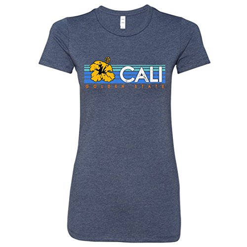 Navy Womens Perennial T-shirt - Cali Golden State Hibiscus Ladies Lightweight Fitted T-Shirt - Heather Navy Large