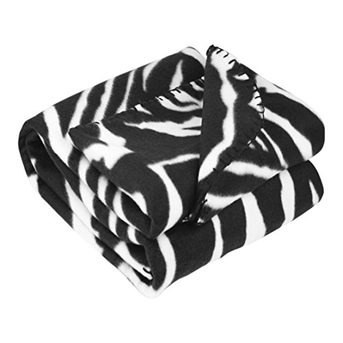 Great Quality 8 Colors Twin 50 by 60 Bed Throw Blankets, Black and White Zebra (Zebra) (Briefcases Zebra Print)