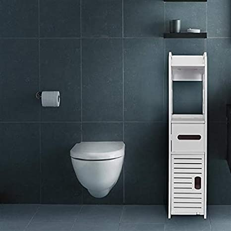 Bathroom Storage Corner Floor Cabinet With Doors And Shelves Thin Toilet Vanity Cabinet Narrow Bath Sink Organizer Towel Storage Shelf For Paper Holder White Us Stock Kitchen Dining