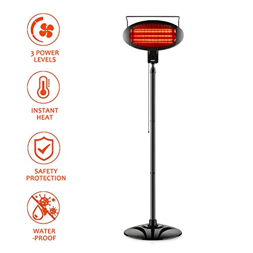 Electric Outdoor Heater, Vertical Halogen Patio Heater with Pull Line Switch, Indoor/Outdoor Heater with 3 Power Levels, Waterproof