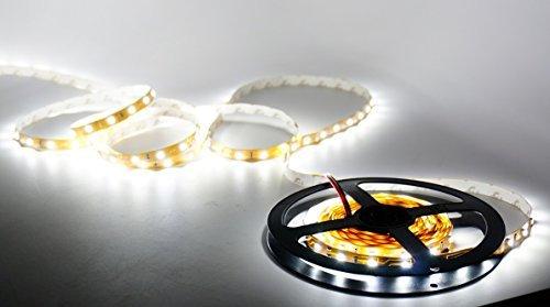 Nubee 3528cw 16.4ft 5M Non-waterproof Flexible Strip 300LEDs Warm White LED Light Strip Kit + 12V 4A Power Supply