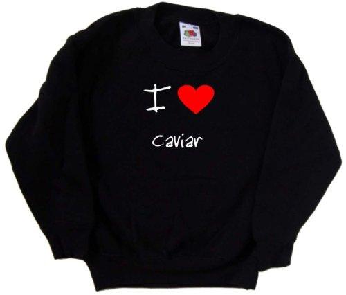 I Love Heart Caviar Black Kids Sweatshirt (White print)-3-4 Years