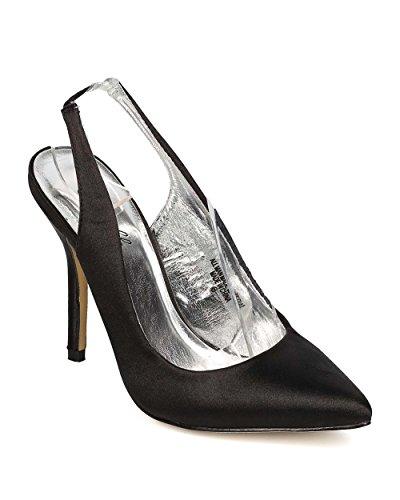 Pointy Toe Slingback Stiletto Pump EI10 - Black (Size: 7.5) ()