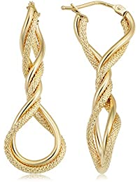 14k Yellow Gold Elongated Twisted Hoop Earrings