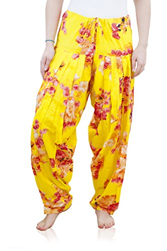 Indian Clothing Women's Full Length Patiala and Dancer Pants Printed; Large; Yellow by Shristi