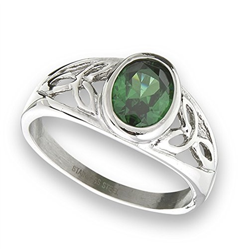 Simulated Emerald Celtic Filigree Trinity Knot Ring New Stainless Steel Band Size 9 ()