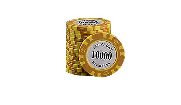 for Solitaire Juego de Casino Fichas LLSZ 14g Premium Arcilla ficha de p/óker Valor 10 000 50 Piezas Juego de Muestra