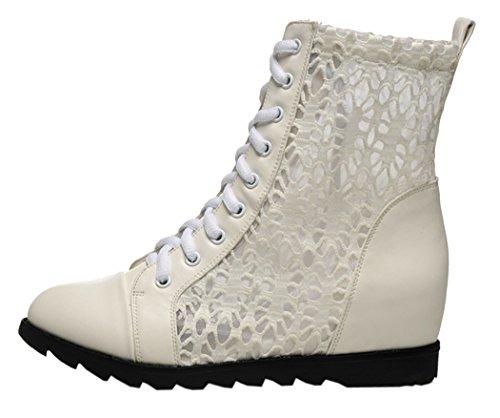 WUXING Spring Cool Black White Lace Pierced Breathe Short Boots Women (6 B(M)US, beige)