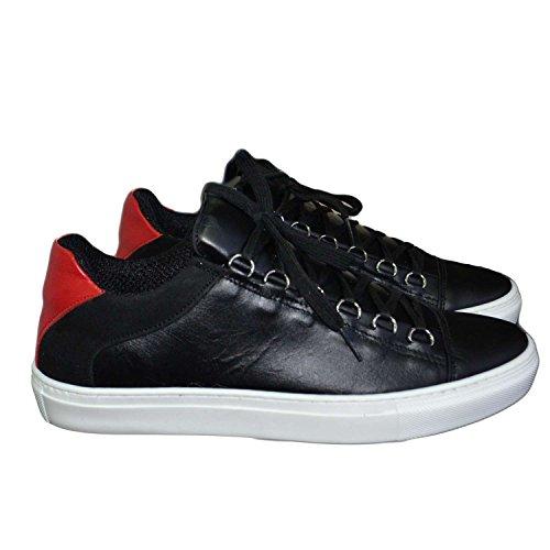 sneakers uomo balen bassa bicolore nero rosso balen scarpe vera pelle made in italy