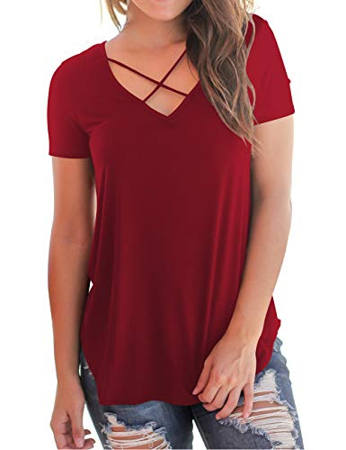 - Women's Summer Tunic Tops Bandage Cross Front Deep V-Neck Casual Girls Tees Wine M