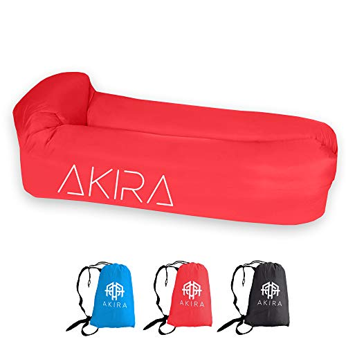 Akira Inflatable Waterproof Lounger with Bottle Opener & Anti-Air Leaking Design, Made with Durable 210D Ripstop Fabric! Outdoor and Indoor Inflatable Lounger for Festivals & Beaches! (Candy Red)
