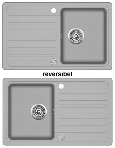 Granitspüle Küchenspüle in versch. Farben Einbauspüle Granit inkl. Drehexcenter, Ab- und Überlaufgarnitur reversibel ab 45/50er Spülenunterschrank (grau)