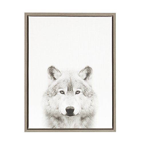 Kate and Laurel - Sylvie Wolf Animal Print Black and White Portrait Framed Canvas Wall Art by Simon Te Tai, Gray 18x24