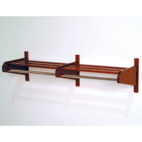 Wooden Mallet 74-Inch Coat and Hat Rack, Mahogany (Wooden Shelf With Hanging Rod)