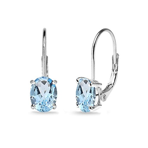 Sterling Silver Blue Topaz 7x5mm Oval Solitaire Dainty Leverback ()