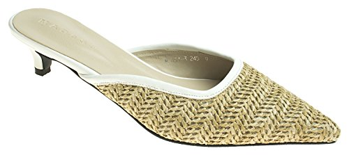 Sandal Slide Kitten AnnaKastle Womens Heel Pointy Natural Toe Mule Woven Beige wzxaq84xB