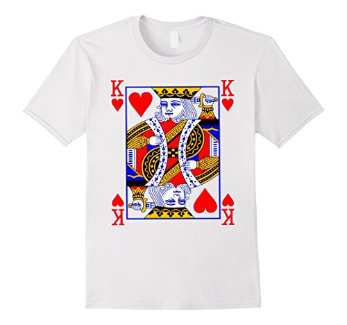 King Hearts Costume (Men's King of Hearts Playing Card Poker Card Costume Tee Shirt XL White)