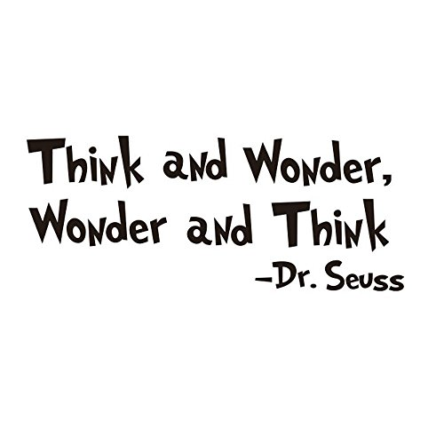 Amaonm Removable Black Vinyl Quotes Saying Dr. Seuss Think and Wonder Wall Decals Lettering Art Decor Wall Stickers Murals for Kids Children Boy Girl Bedroom Living Room Classroom]()