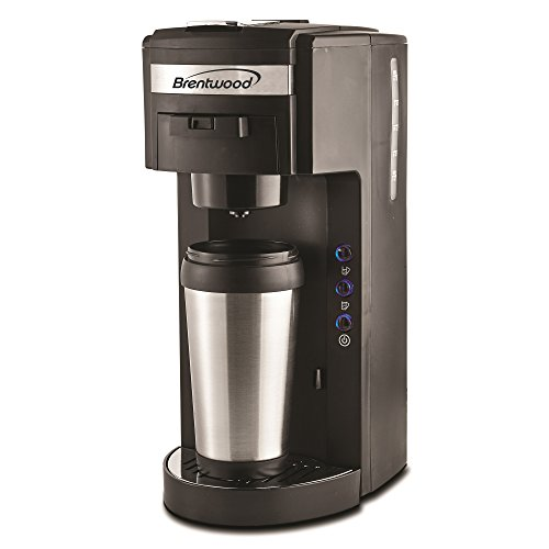Brentwood TS-114 Coffee Maker with Travel Mug, K-Cup Single Serve, Black