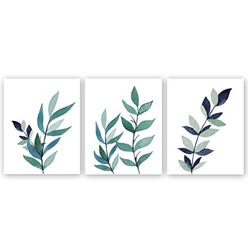 Unframed Natural Leaves Art Painting Green Botanical Leaf Canvas Wall Art Prints,Set of 3(8''x10'') Poster for Office Bedroom Decoration