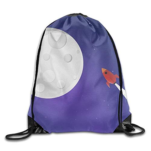 Moon Drawstring Print Unisex Bags Rucksack Gym Bag Dhnkw To Rocket Fly Sport Backpack Shoulder nvIwqfY