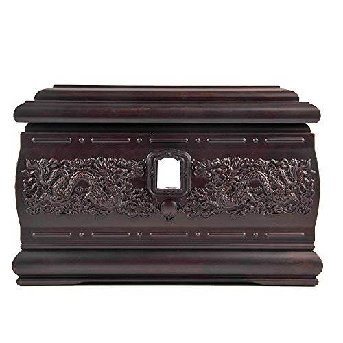 Vintage Urn - MMJ Ebony Dragon Palace, Funeral Supplies, Moisture-Proof Solid Wood Coffin, Adult Coffin, Calm Elegant Coffin, Coffin, Ash Storage Commemorative Container Jar Ceramic Vintage Urn Box Funeral Comm