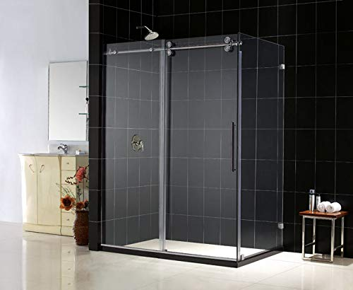 - DreamLine Enigma 36 in. D x 60 1/2 in. W x 79 in. H Frameless Sliding Shower Enclosure in Polished Stainless Steel, 1/2 in. Glass, SHEN-60366012-08