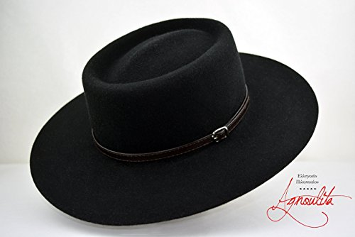 The Gambler - Black Wool Felt Gambler Bolero Hat - Wide Brim - Men Women by HNC-HatWorks