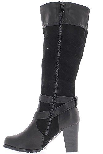 Negro forrado botas con material bi de 9cm de los talones de los estable