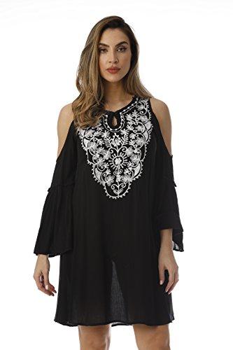 Riviera Sun Cold Shoulder Dress 21825-BLK-1X