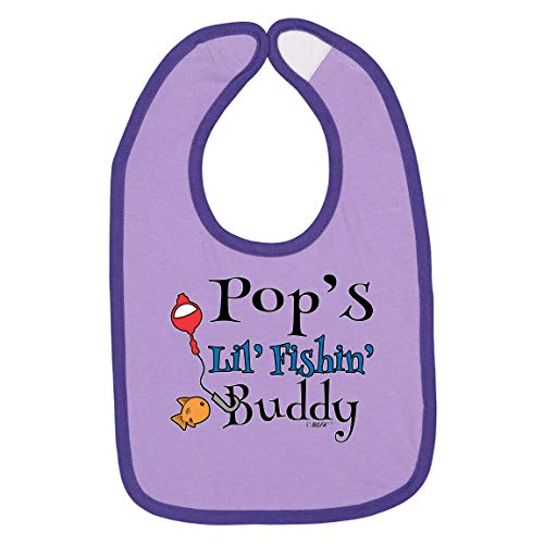 Pop Fishing Baby Gifts for Baby Shower Baby Fishing Gifts Pops Lil Fishin Buddy Baby Bib Lavender/Purple
