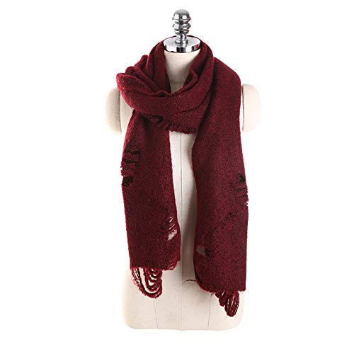 03f482ba3072f HITSAN INCORPORATION LaMaxPa Winter Warm Scarf Hole Knitted Solid Shawls  and Warps Vintage Long Echarpe High Quality 190 * 35CM Burgundy Size one  size: ...