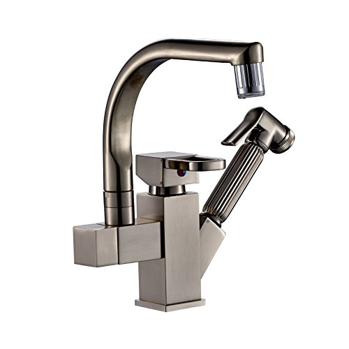 Nickel Swivel Faucet (Rozinsanitary Brushed Nickel LED Swivel Spout Kitchen Sink Faucet Pull Out Spray Mixer)