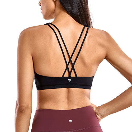 CRZ YOGA Women's Low Impact Wirefree Padded Yoga Sports Bra Strappy Back Activewear for Women Black L