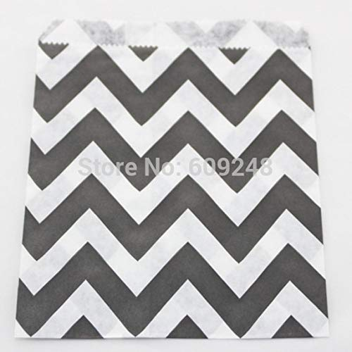 HOKUGA: 100pcs Mixed Colors Cheap Halloween Buffet Candy Treat Black Wide Chevron Paper Party Favor Gift Bags ()