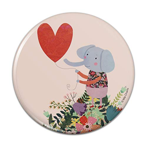 Mirror Compact Purse Shaped - Cute Elephant Holding a Heart Shaped Balloon Compact Pocket Purse Hand Cosmetic Makeup Mirror - 2.25