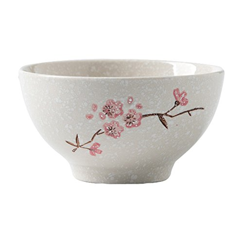 Japanese Cherry Blossom Rice Bowl Ceramic Soup Bowl Round Small Cereal Bowl for Salad and Fruit ,Noodle Dinner Serving Bowl ,White