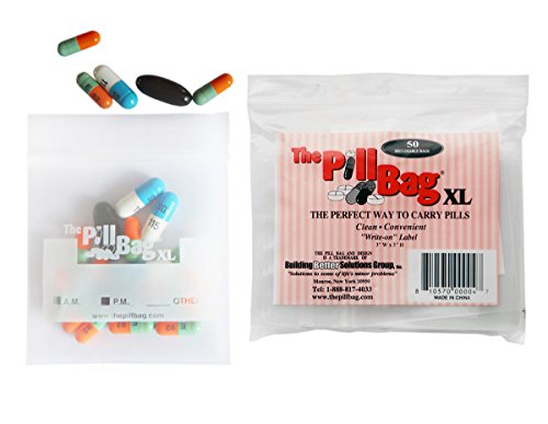 The Pill Bag XL 50 Bag Count Resealable Zipper Poly Bags, 3 by 3-Inch, 3 mil, Clear with Write-on Label (Bpa Free Pill Bags)