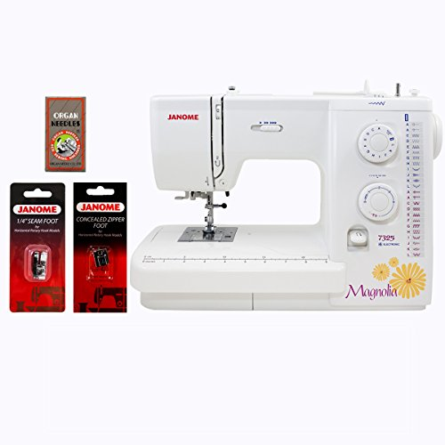 janome-magnolia-7325-sewing-machine-bundle-with-1-4-inch-seam-foot-concealed-zipper-foot-and-size-12