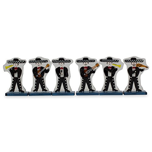 NOVICA Black Dance and Music Glass Sculpture, 3.3'' Tall, Handsome Mariachi' (Set of 6) by NOVICA (Image #4)