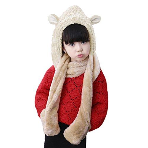 Girls Boys Winter 3 in 1 Hat Scarf Mittens Warm Plush Cartoon Animal Earflap Hood Cap Scarves Gloves 1-5 Year Kids Gift