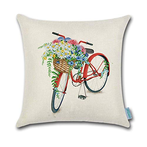 (CARRIE HOME Vintage Bike Decorations Red Bicycle Throw Pillow Covers for Party, Couch and Sofa, 18 x 18 Inches)