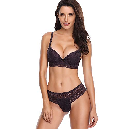 SHEKINI Women's Push Up Bras Lace Lingerie Bra and Panty Sets 2 Piece Sexy Bodysuit 2 Piece Underwire Panties